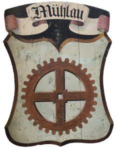 Mühlauer Wappen auf weißem Grund
